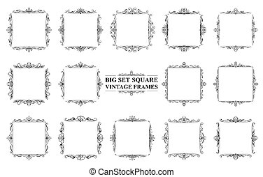 Large set of black vintage square frames