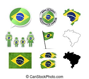 Large set of Brazil infographics elements with flags, maps and badges on white
