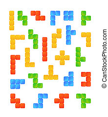 Large set of bright colourful tetris game pieces on white