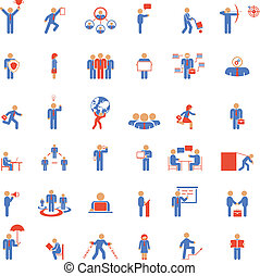 Large set of businessmen icons in different poses