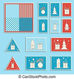 Large set of colorful Christmas postage stamps. Vintage New Year decoration elements.