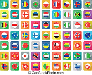 flat world flag icons - large set of colourful flat world...