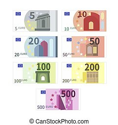 Large set of different euro banknotes. Five, ten, twenty, fifty, one hundred, two hundreds and five hundreds cupures on white
