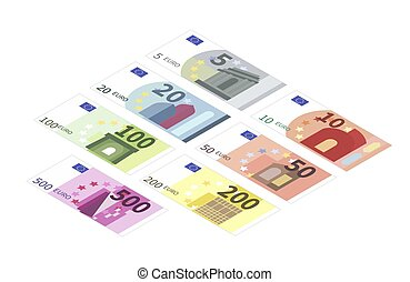 Large set of different euro banknotes in isometric view. Five, ten, twenty, fifty, one hundred, two hundreds and five hundreds notes on white