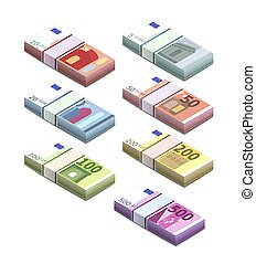 Large set of different euro banknotes in stacks in isometric view. Five, ten, twenty, fifty, one hundred, two hundreds and five hundreds pile notes on white