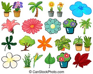 Large set of different gardening objects on white background