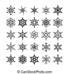 Large set of different modern snowflakes, black silhouettes on white