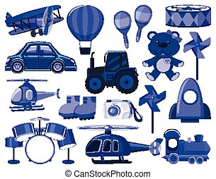 Large set of different objects in blue