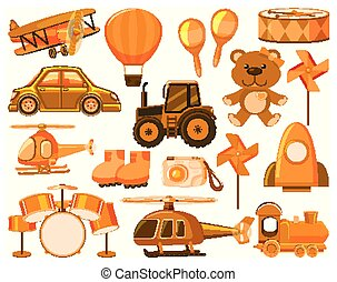 Large set of different objects in orange