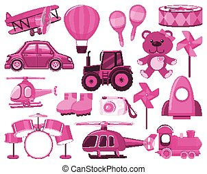 Large set of different objects in pink color