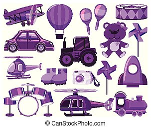 Large set of different objects in purple