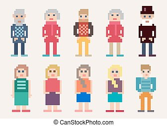 Large set of different pixel people
