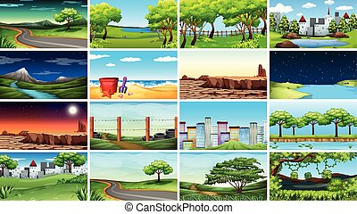Large set of different scenes