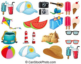 Large set of different summer objects on white background
