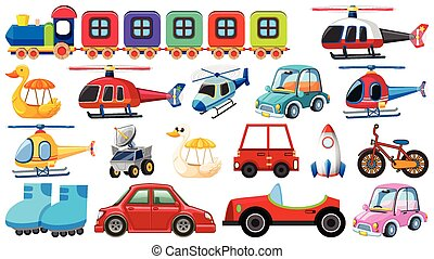 Large set of different transportations on white background