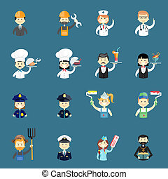 Large set of funny professional people avatars with a doctor...