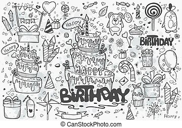 Large set of hand drawn doodles to birthday