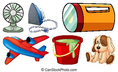 Large set of household items on white background
