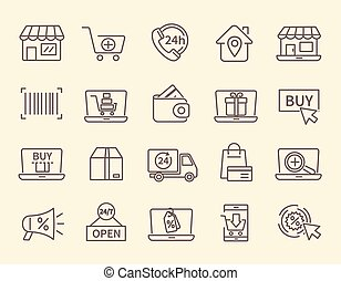 Large set of line drawn shopping and store icons