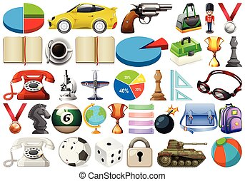 large set of miscellaneous objects