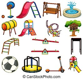 Large set of play stations in the playground