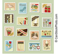 Large set of postage stamps - Various postage stamps with...
