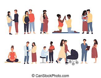Large set of pregnant women and couples