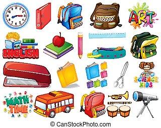Large set of school items on white background