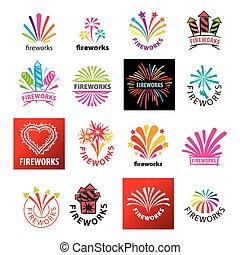 large set of vector logos fireworks