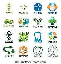 large set of vector logos for medicine
