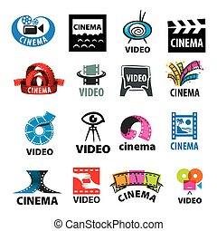 large set of vector logos for video production