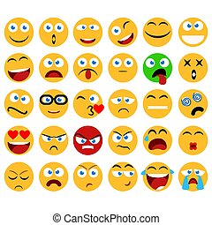 Large set of vector smiles, emoticons and emojis in minimalistic flat design. Funny and silly abstract facial expression icons collection