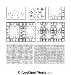 Large set of white puzzles pieces in rectangle shape. Jigsaw Puzzle template ready for print. Cutting guidelines isolated on white