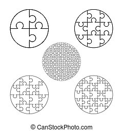 Large set of white puzzles pieces in round shape. Jigsaw Puzzle template ready for print. Cutting guidelines on white