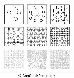 Large set of white puzzles pieces in square shape. Jigsaw Puzzle template ready for print. Cutting guidelines on white