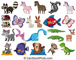 Large set of wild animals on white background