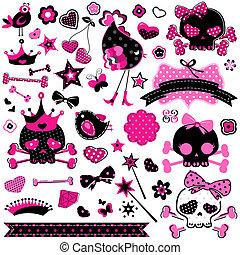 girlish cute skulls - large set of wild girlish cute skulls...