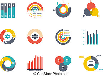 pie and bar charts - large set pie and bar charts vector...