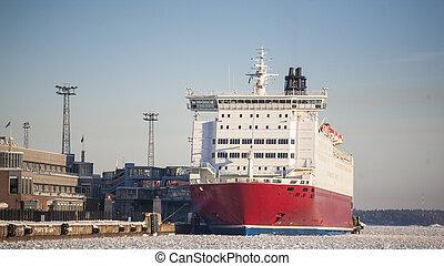 Large ship at docks