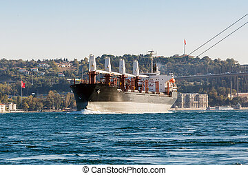 large ship tanker proceeding along the Bosphorus coast on...