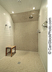 Large shower with bench