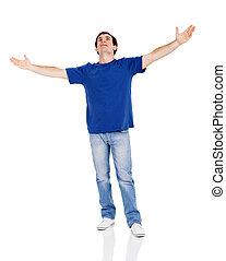 large, sien, bras haut, regarder, ouvert, homme