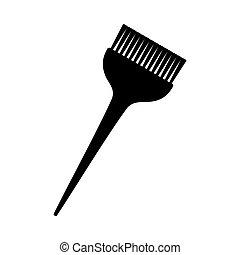 large, silhouette, cheveux, noir, brosse, teinture, blanc