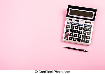 Pink Calculator With Pen Background Pink Gold Calculator With Pen Background With Space Top View Canstock