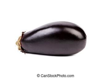 Large single eggplant isolated on white