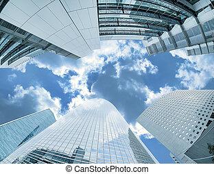 Large skyscrapers shot with a fisheye lens La Défense major business district near Paris, France