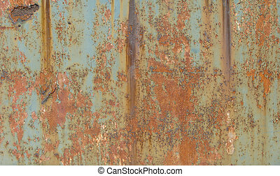 large slate of blue rusted metal