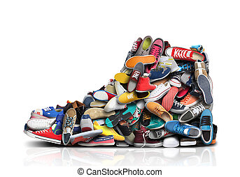 Large sneaker made up of small sneakers