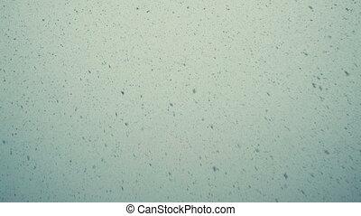 Large snow flakes are falling from the sky, very large snow falls by a wall, a bottom view, slow motion