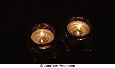 large, soir, coup, deux, tealight, supports